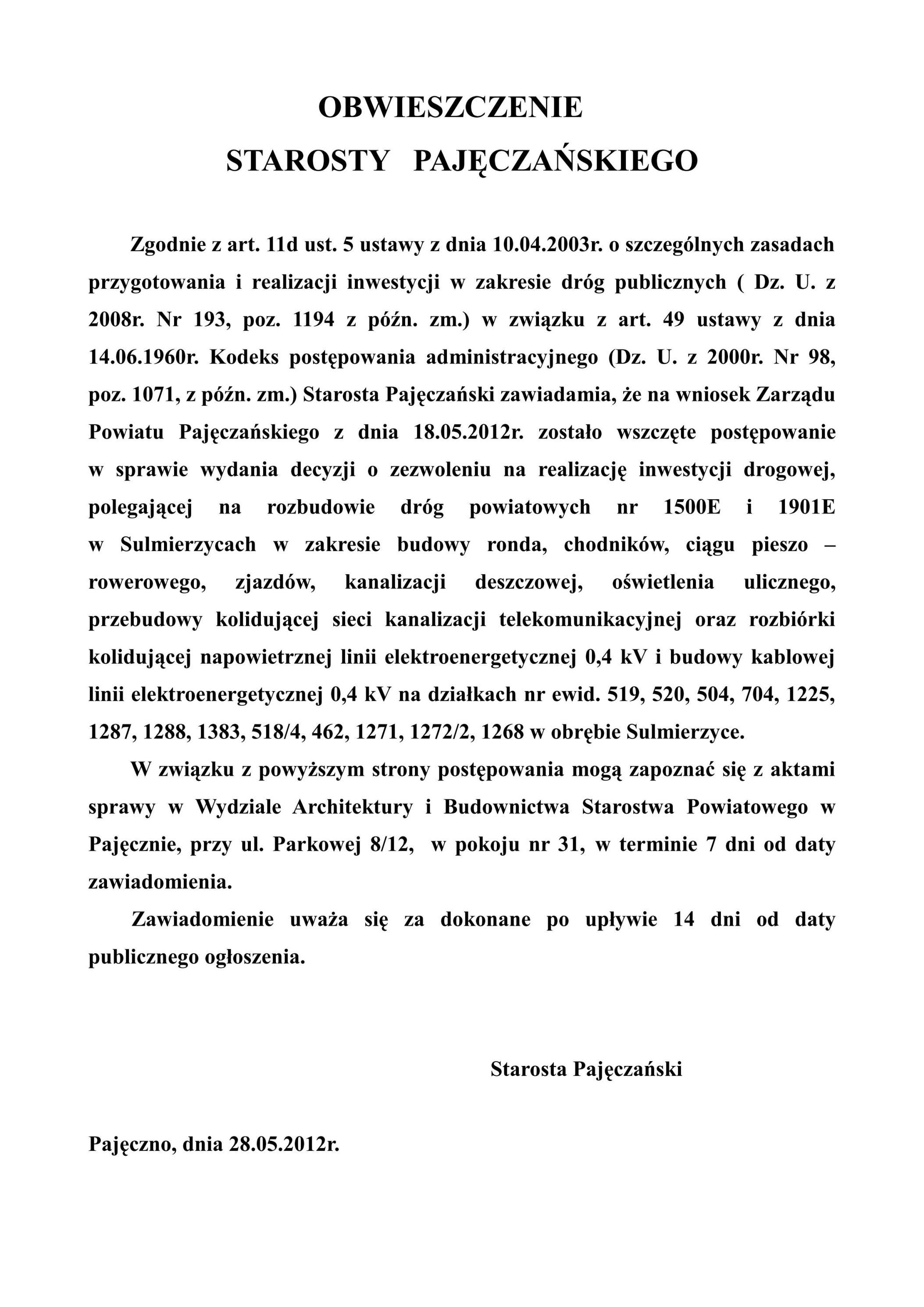 Obwieszczenie Starosty Pajęczańskiego